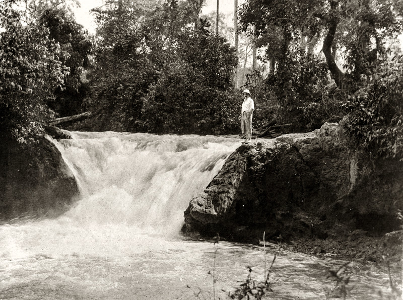 """Waterfall at H Hom; from here to where the river enters the hill there is a succession of falls and ledges. Logs are therefore taken out of the river above thais fall, and worked over a hill to where the river re-appears - a distance of 6 3/4 miles."""