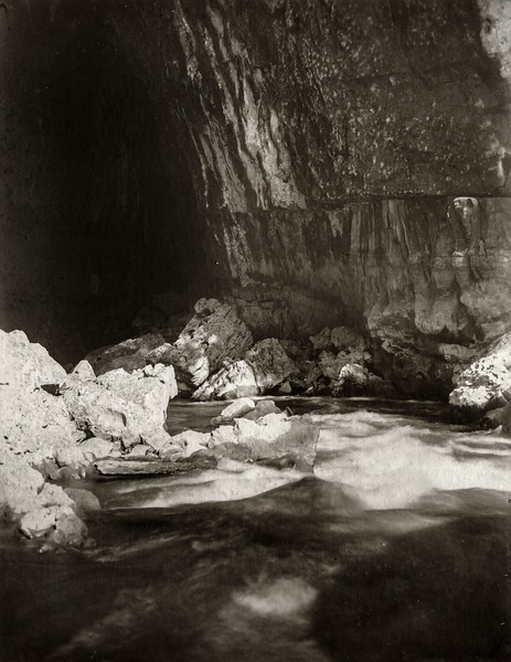 """ In the cave looking downstream."""
