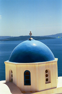 Blue Domed Church Santorini, Greece