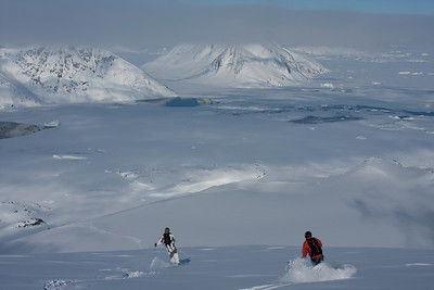 Powder skiing near Kulusuk, east coast of Greenland