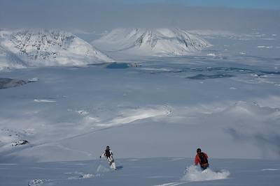 Powder skiing near Kulusuk, east coast of Greenland