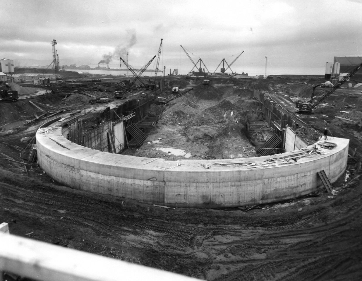 D053	General view of dock site from head of dock   27/11/1962