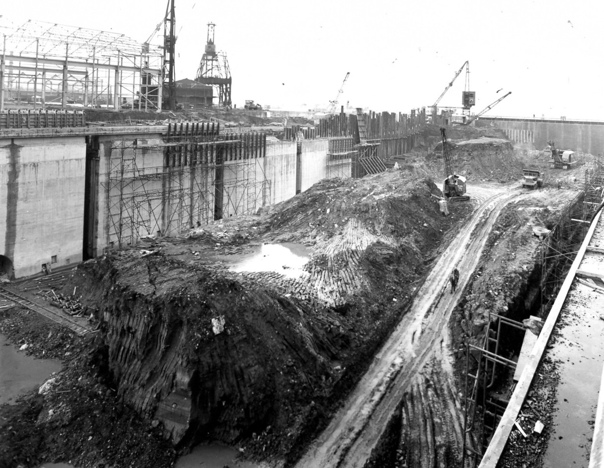 D106View of west wall works  1/10/1963