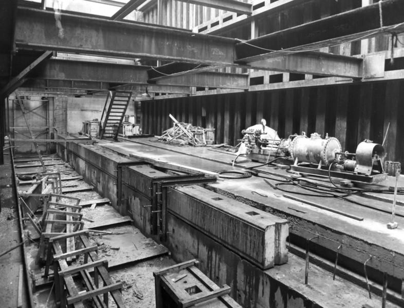 D087	Entrance works - cill stones being set in position   29/4/1963