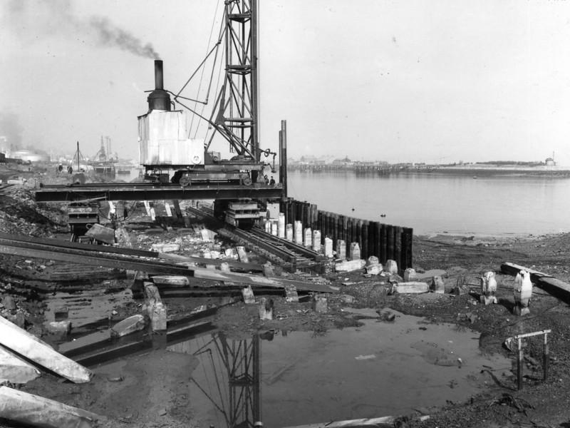 Q007.General view of piling at Repair Quay  Apr 1962