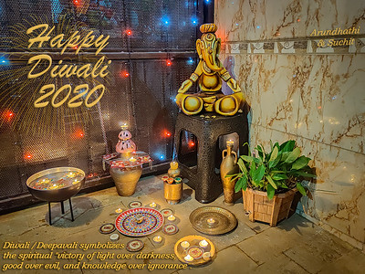 "Happy Diwali 2020 - the festival of lights!  Diwali symbolizes the spiritual ""victory of light over darkness, good over evil, and knowledge over ignorance""."