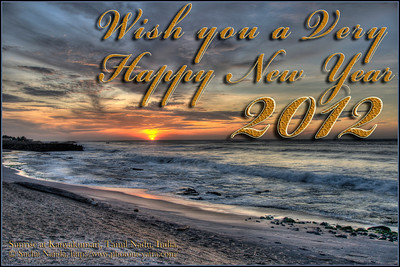 Wish you a Very Happy New Year 2012. Dramatic Sunrise at Kanyakmari, South India.