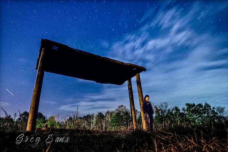The sky at dusk in North Carolina. Long exposure with Meteor burning through atmosphere. Self portrait.