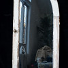 "Antique Door with intact blown glass. Hanger at back top. 46""H x 18.5""W."