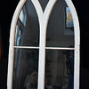 "Real Chapel Windows (there are 2 of these) intact blown glass. Original distressed condition. Magnificent display pieces. Heavy hanger at top back. 57""H. x 30""W."