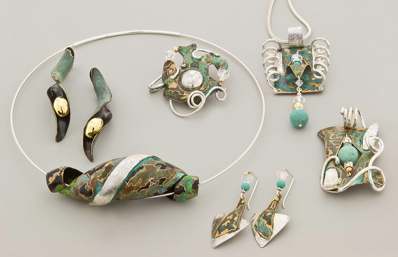Collection 3: Black and green pendant, Green Sidewinder II earrings, Sterling/green patina/turquoise earrings, Green patinated and turquoise pendants.