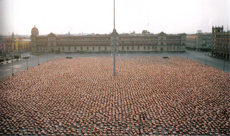 me, somewhere in the crowd, in the zocalo in mexico city.  the photo was organized by photographer spencer tunick.  18,000 people were in the photo!
