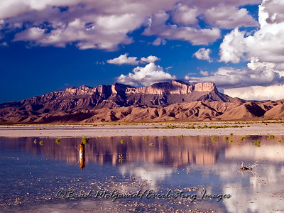 Guadalupe Peak, as seen from the Salt Flat are of Texas, after a heavy rain.