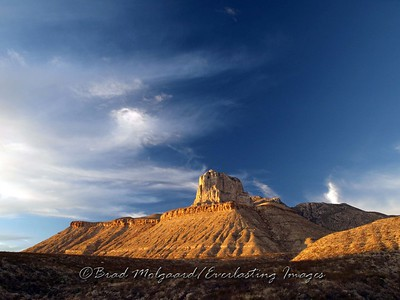 Title: Signal Peak at Sunset. El Capitan at the Guadalupe Mountains National Park.