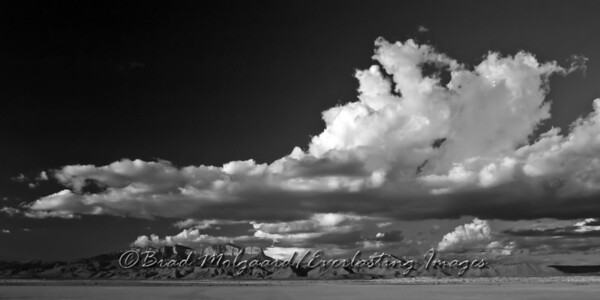 """Stratum"" in black and white Guadalupe Peak, as seen from the Salt Flat are of Texas, after a heavy rain."