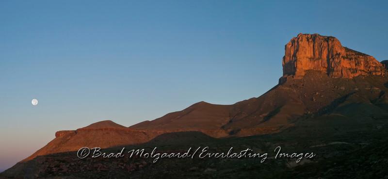 """Moon Set El Capitan"" Guadalupe Mountains National Park, Texas"