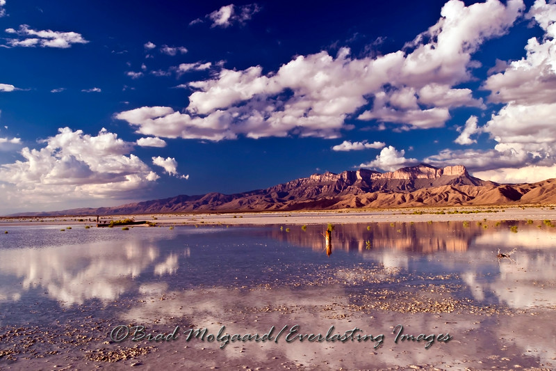 """Crystalline"" Guadalupe Peak, as seen from the Salt Flat are of Texas, after a heavy rain."
