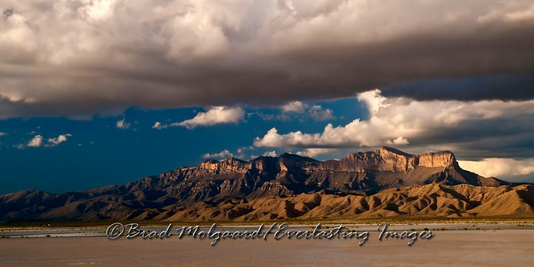 """Ominous Canopy"" Guadalupe Peak, as seen from the Salt Flat are of Texas, after a heavy rain."