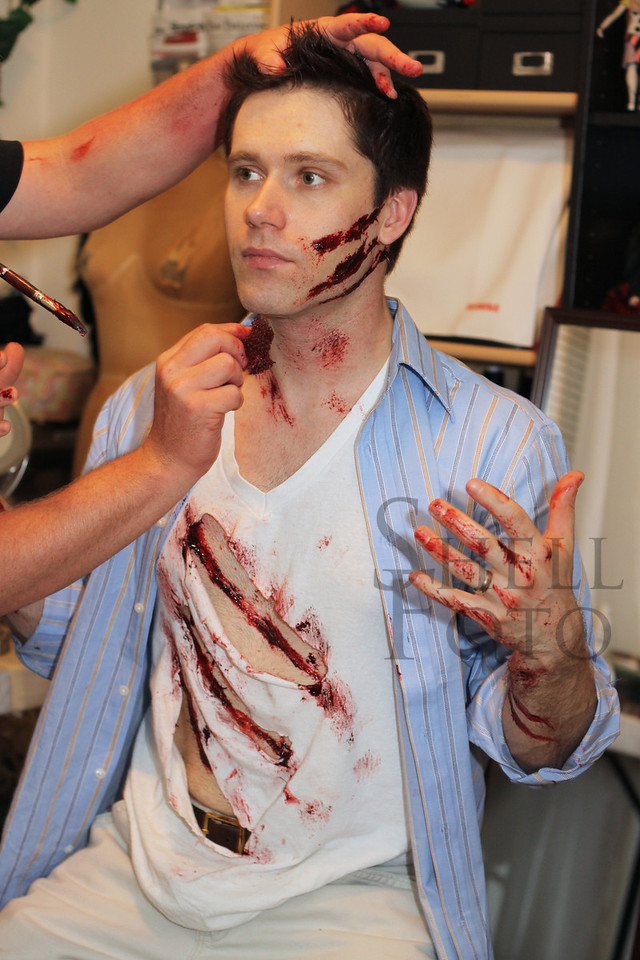 <h2>Actor Michael Tushaus suffers ghastly wounds at the hands of the special effects make-up artist Bryan.