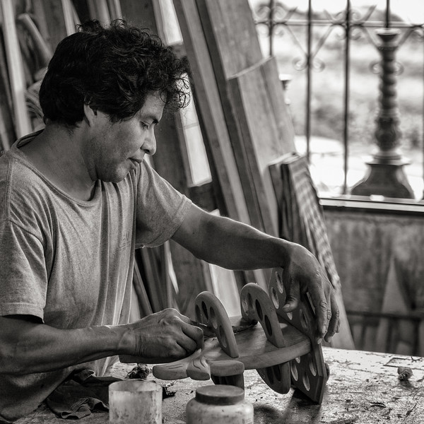 Woodworker in Shop, Guatemala