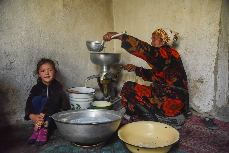Preparing food in the Pamir Mountains of Tajikistan