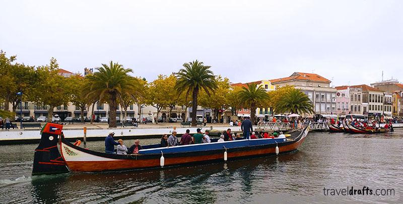 A traditional moliceiros in Aveiro, Portugal