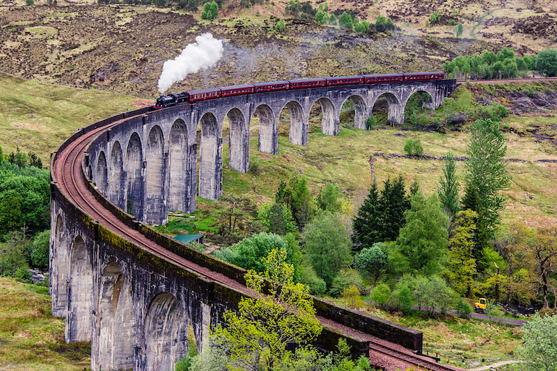 Jacaobite Steam Train Crossing the Glenfinnan Viaduct