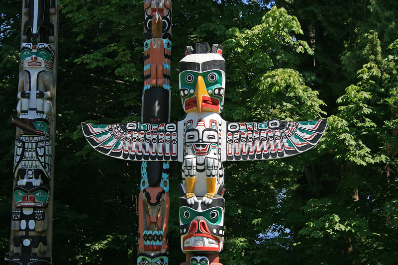 Totem poles in Stanley Park are one of the top things to do