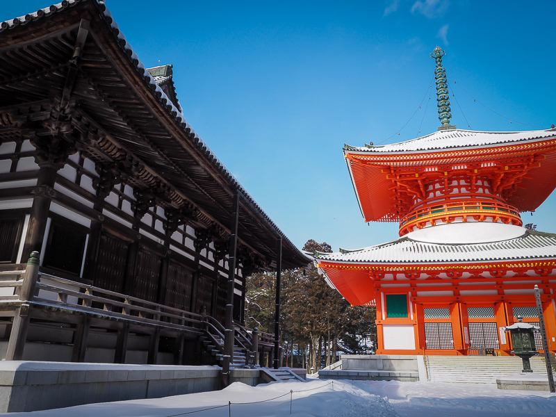 Konpon Daito, Garan, Koyasan en invierno