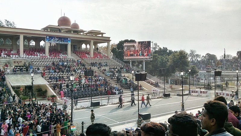 Beating Retreat Ceremony at Wagah Border near Amritsar