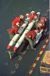 In the Red Sea- Aboard the John F. Kennedy- Aircrews prepare for a raid against Iraq. warfare, planes, Aircraft carrier, jets, launch, HARM missles, bombs, Photo by Todd Buchanan �1991