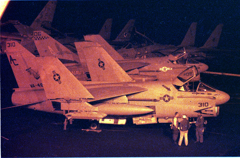 In the Red Sea- Aboard the John F. Kennedy- Aircrews prepare for the first raid against Iraq at night. warfare, planes, Aircraft carrier, jets, launch, Photo by Todd Buchanan ©1991