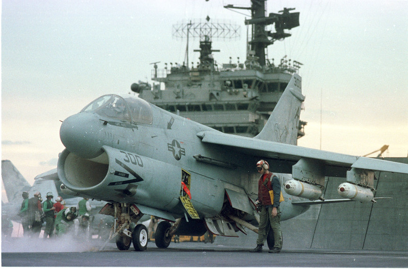 In the Red Sea- Aboard the John F. Kennedy- Aircrews prepare for a raid against Iraq. warfare, planes, Aircraft carrier, jets, launch, Photo by Todd Buchanan ©1991
