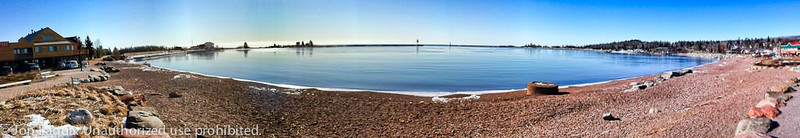 Pano of Grand Marais Harbor. Note the lack of ice.