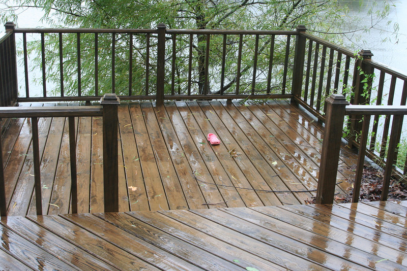 I left a shoe that floated up out on the deck to see what would happen to it.  It actually stayed on the deck throughout the entire storm.