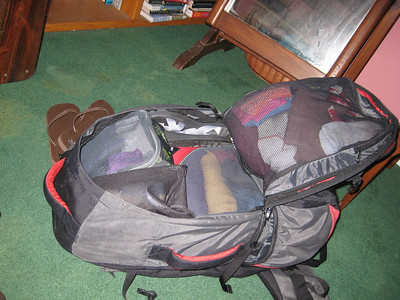 Full backpack for RTW travel