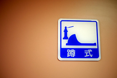 Bathroom sign in Taipei for squat toilet
