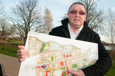 Bill Sheehy with map of Woodberry Down Development
