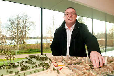 Bill Sheehy with model of Woodberry Down Development