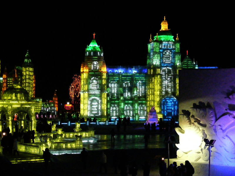 Harbin Ice Festival.  This one is free for use.  I'm not sure if it can crop the way you need.  <br /> <br /> Choice 1 of 30