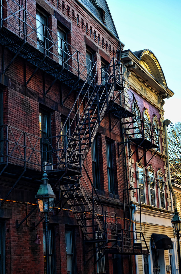 Fire escape on side of historic building, Portsmouth, New Hampshire