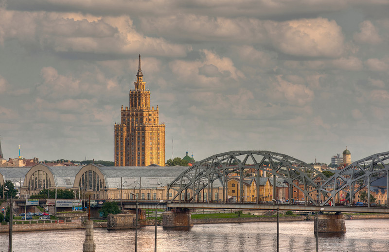 HDR: Riga, Latvia and the Daugava River. Building is the Academy of Sciences.