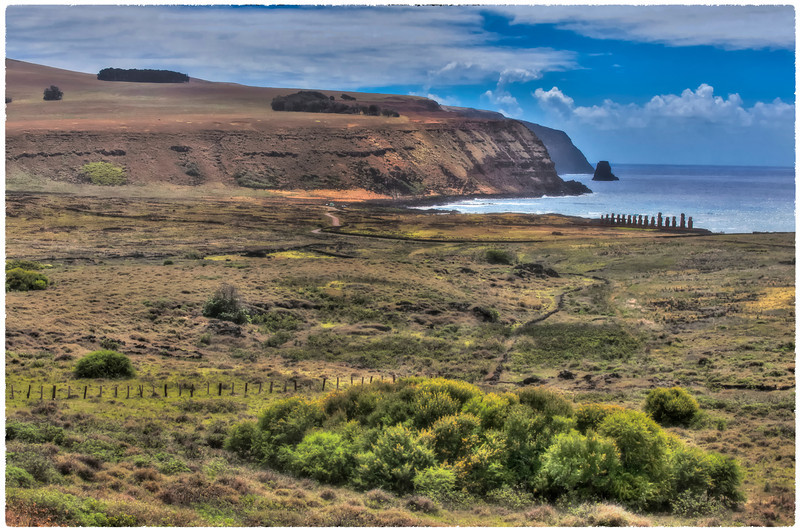 Long view to Ahu Tongariki, Easter Island (Rapa Nui) - HDR.