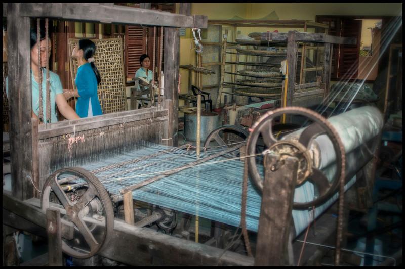 Loom at sewing factory, Hoi An, Vietnam.