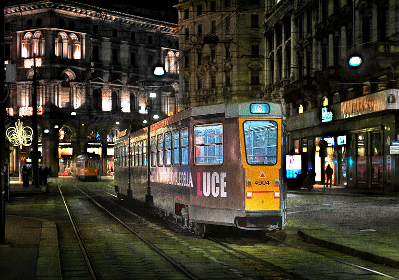 Night Tram, Milano - HDR.