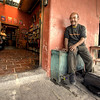 HDR: Shoe shine man at the office, Antigua, Guatemala.