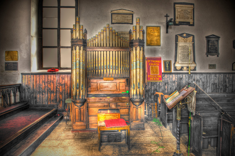 HDR: The pipe organ at the oldest Anglican church in the southern hemisphere, the St. James Church, dating from 1774, on St. Helena Island, South Atlantic Ocean.