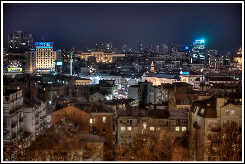 Kyiv, Ukraine. Maidan Square in the center - HDR.