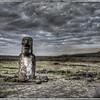 Lone moai near Ahu Tongariki, Easter Island (Rapa Nui), with texture.