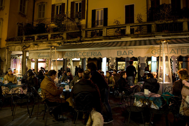 HDR: Terrace restaurant at night, Lecco, Italy.